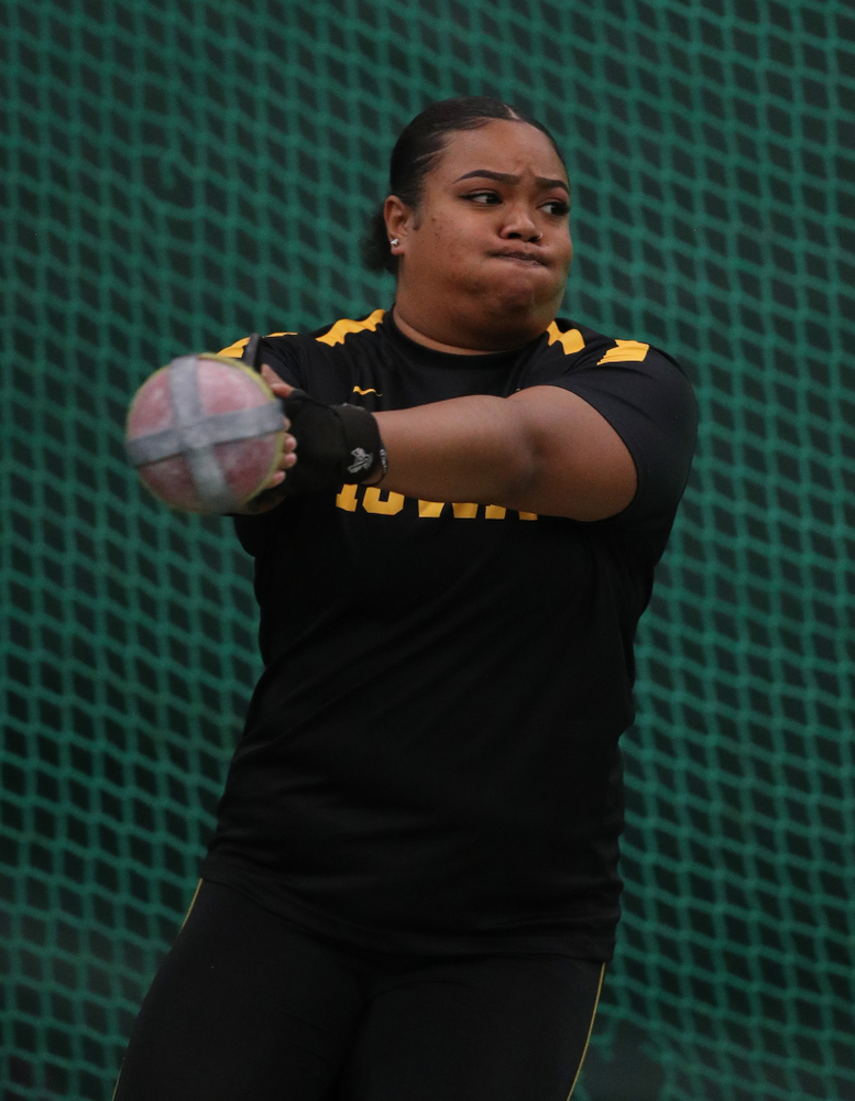 Iowa's Laulauga Tausaga competes in the weight throw Friday, January 11, 2019 at the Hawkeye Tennis and Recreation Center. (Brian Ray/hawkeyesports.com)