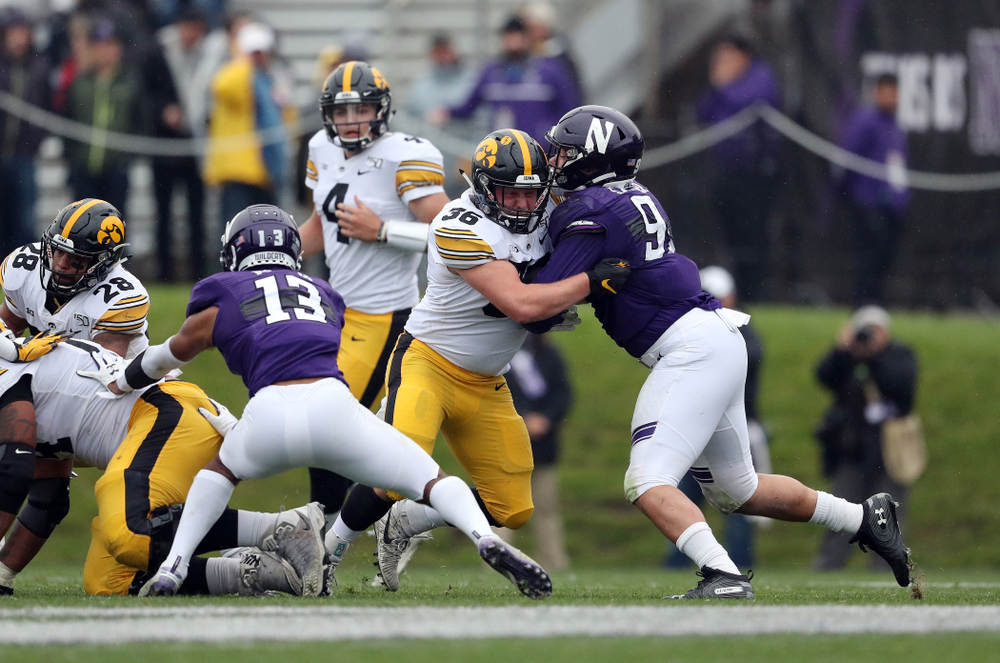 Iowa Hawkeyes fullback Brady Ross (36) against the Northwestern Wildcats Saturday, October 26, 2019 at Ryan Field in Evanston, Ill. (Brian Ray/hawkeyesports.com)