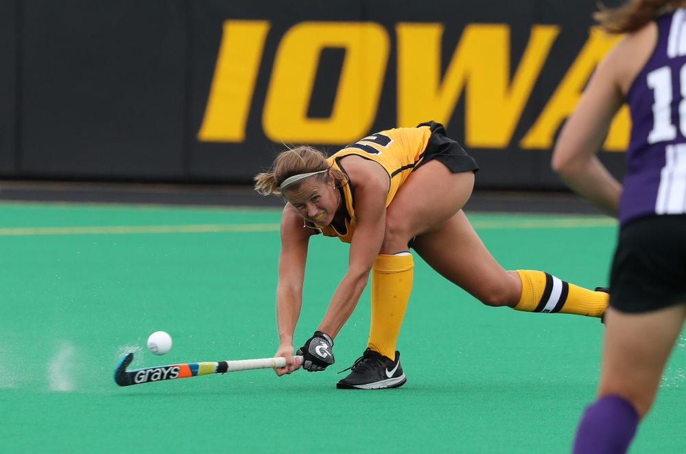Iowa Hawkeyes Sophie Sunderland (20) during an exhibition game against Northwestern Saturday, August 24, 2019 at Grant Field. (Brian Ray/hawkeyesports.com)