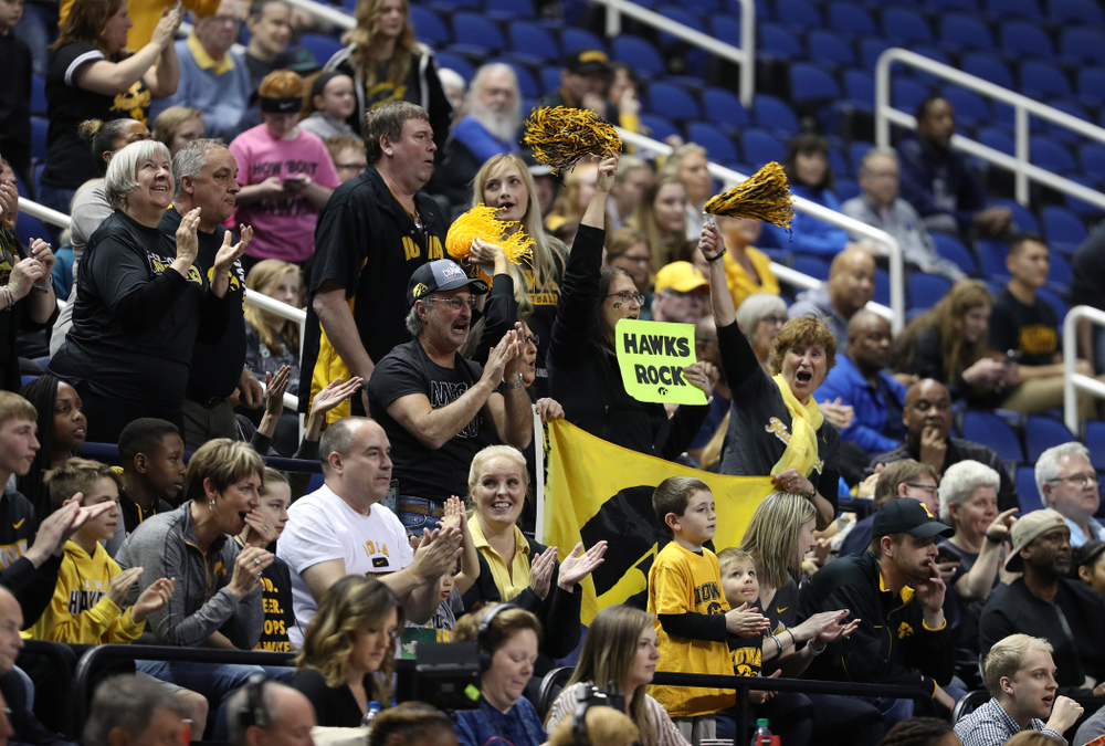 Fans cheer on the Iowa Hawkeyes against the Baylor Lady Bears in the regional final of the 2019 NCAA Women's College Basketball Tournament Monday, April 1, 2019 at Greensboro Coliseum in Greensboro, NC.(Brian Ray/hawkeyesports.com)