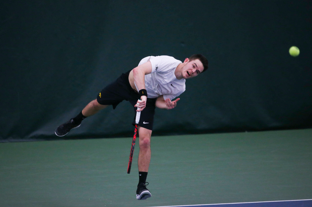 Iowa's Jonas Larsen at a tennis match vs Drake  Friday, March 8, 2019 at the Hawkeye Tennis and Recreation Complex. (Lily Smith/hawkeyesports.com)