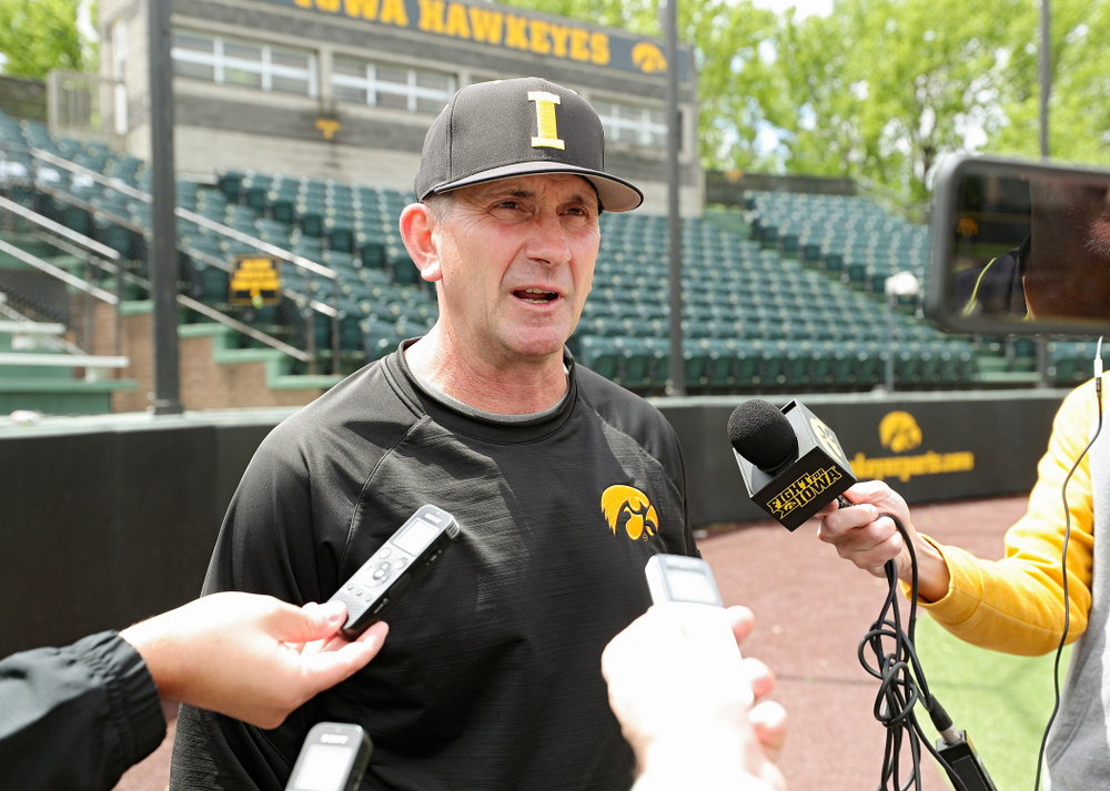Iowa head coach Rick Heller answers questions from the media at Duane Banks Field in Iowa City on Monday, May 20, 2019. (Stephen Mally/hawkeyesports.com)