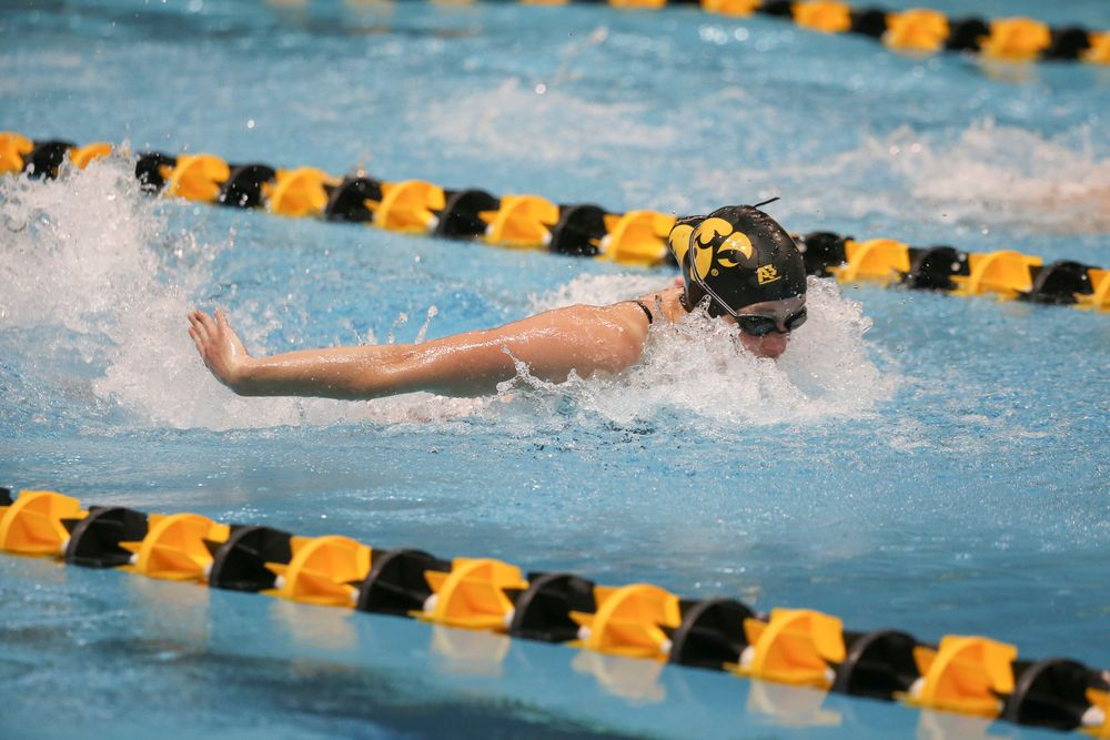 Iowa's Kelsey Drake swims the 200-yard butterfly during the Iowa swimming and diving meet vs Notre Dame and Illinois on Saturday, January 11, 2020 at the Campus Recreation and Wellness Center. (Lily Smith/hawkeyesports.com)
