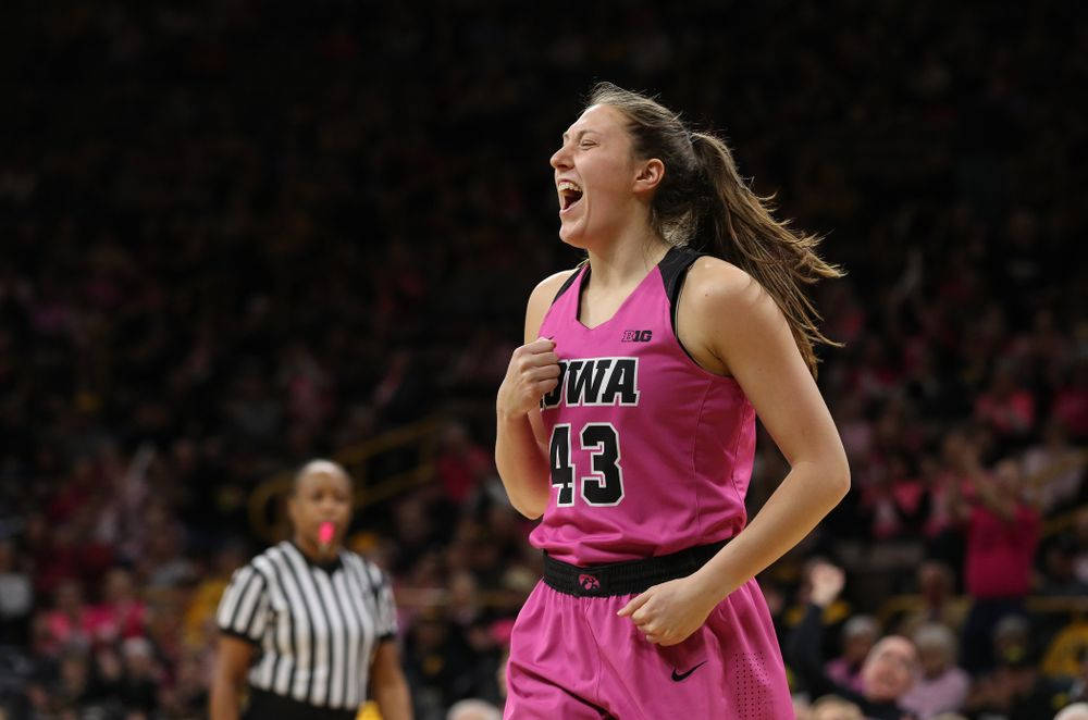 Iowa Hawkeyes forward Amanda Ollinger (43) against the seventh ranked Maryland Terrapins Sunday, February 17, 2019 at Carver-Hawkeye Arena. (Brian Ray/hawkeyesports.com)