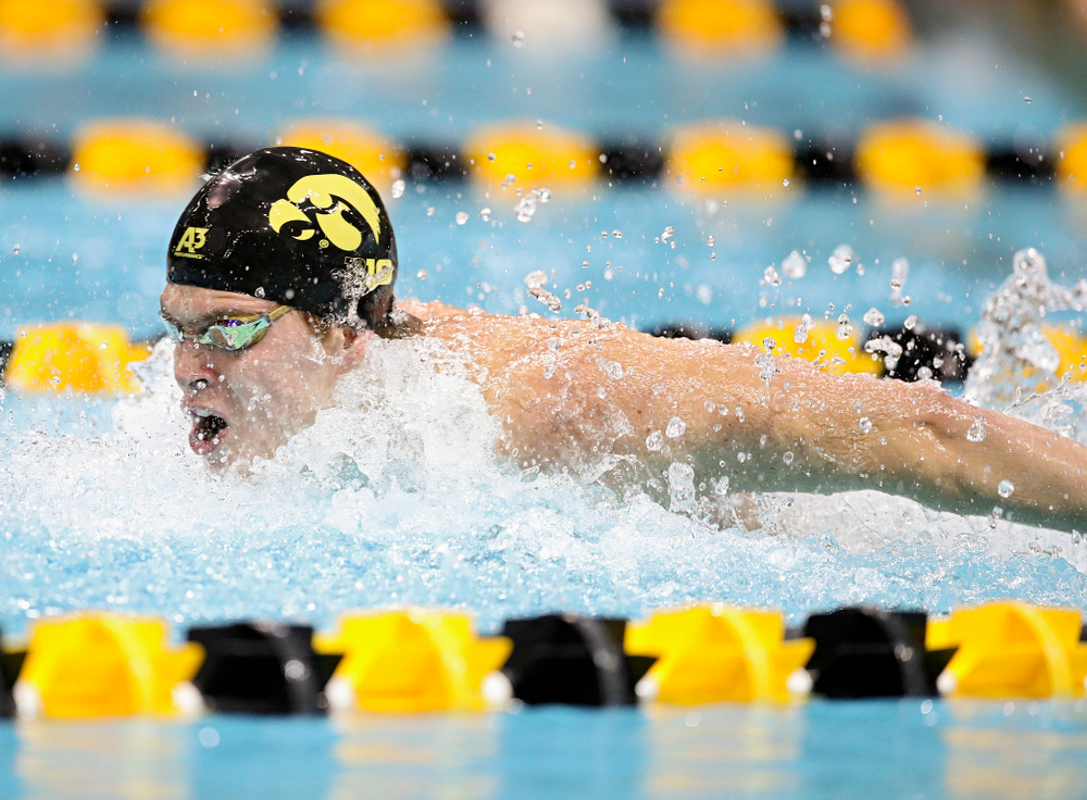 Iowa's Michael Tenney swims the butterfly section in the men's 400 yard medley relay event during their meet at the Campus Recreation and Wellness Center in Iowa City on Friday, February 7, 2020. (Stephen Mally/hawkeyesports.com)