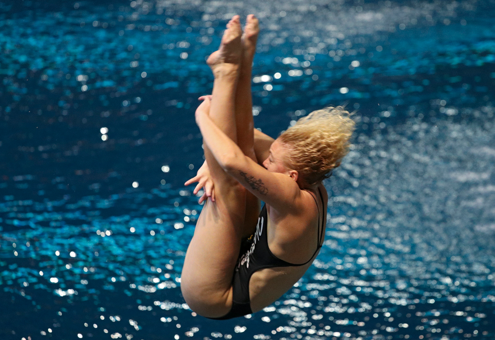 Iowa's Thelma Strandberg competes in the women's 1-meter diving event during their meet against Michigan State and Northern Iowa at the Campus Recreation and Wellness Center in Iowa City on Friday, Oct 4, 2019. (Stephen Mally/hawkeyesports.com)