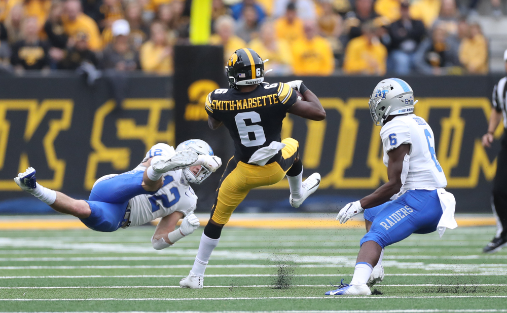 Iowa Hawkeyes wide receiver Ihmir Smith-Marsette (6) against Middle Tennessee State Saturday, September 28, 2019 at Kinnick Stadium. (Max Allen/hawkeyesports.com)