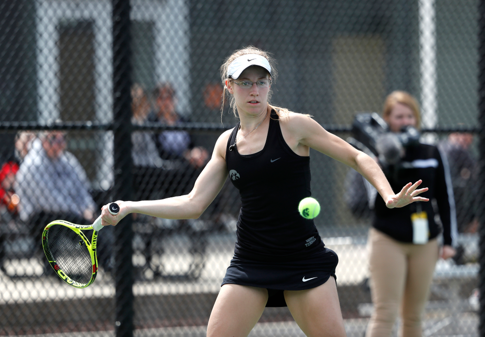 Iowa's Montana Crawford against the Wisconsin Badgers Sunday, April 22, 2018 at the Hawkeye Tennis and Recreation Center. (Brian Ray/hawkeyesports.com)