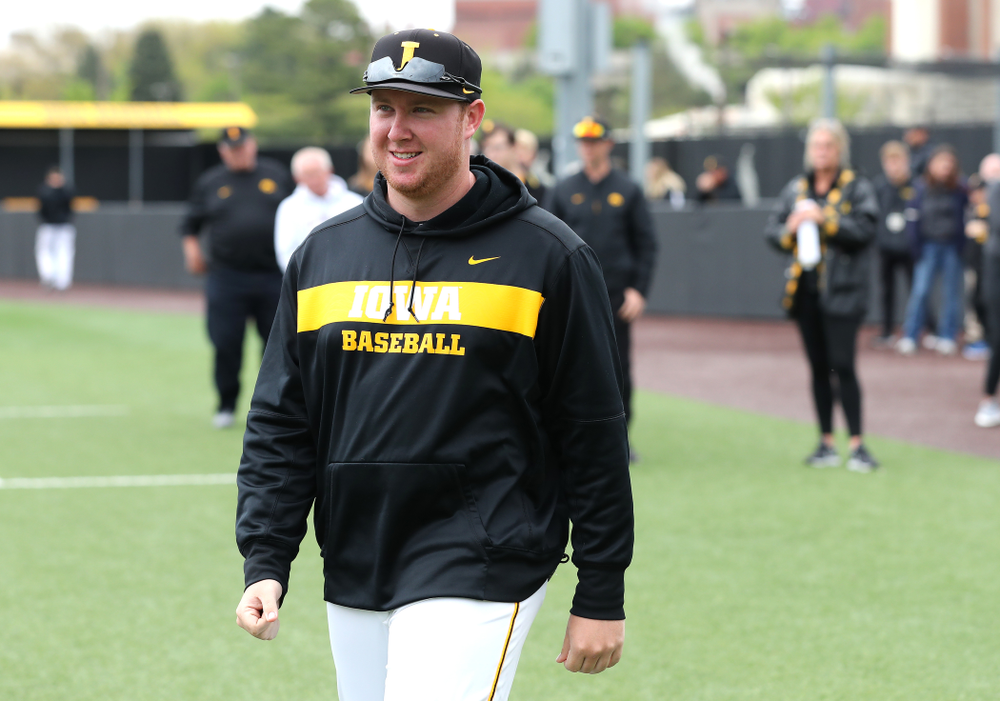 Graduate Assistant Shane Schmidt during senior day festivities before their game against Michigan State Sunday, May 12, 2019 at Duane Banks Field. (Brian Ray/hawkeyesports.com)
