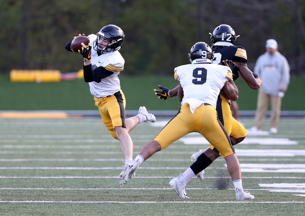 Iowa Hawkeyes defensive back Riley Moss (33) intercepts a pass during the teamÕs final spring practice Friday, April 26, 2019 at the Kenyon Football Practice Facility. (Brian Ray/hawkeyesports.com)
