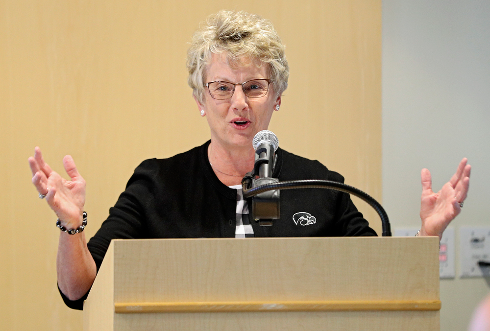 Barbara Burke, Deputy Athletic Director, speaks during the press conference to discuss FryFEST and announce the 2019 Iowa Athletics Hall of Fame members in the Varsity Club Room at the University of Iowa Athletics Hall of Fame in Iowa City on Tuesday, Jun 11, 2019. (Stephen Mally/hawkeyesports.com)