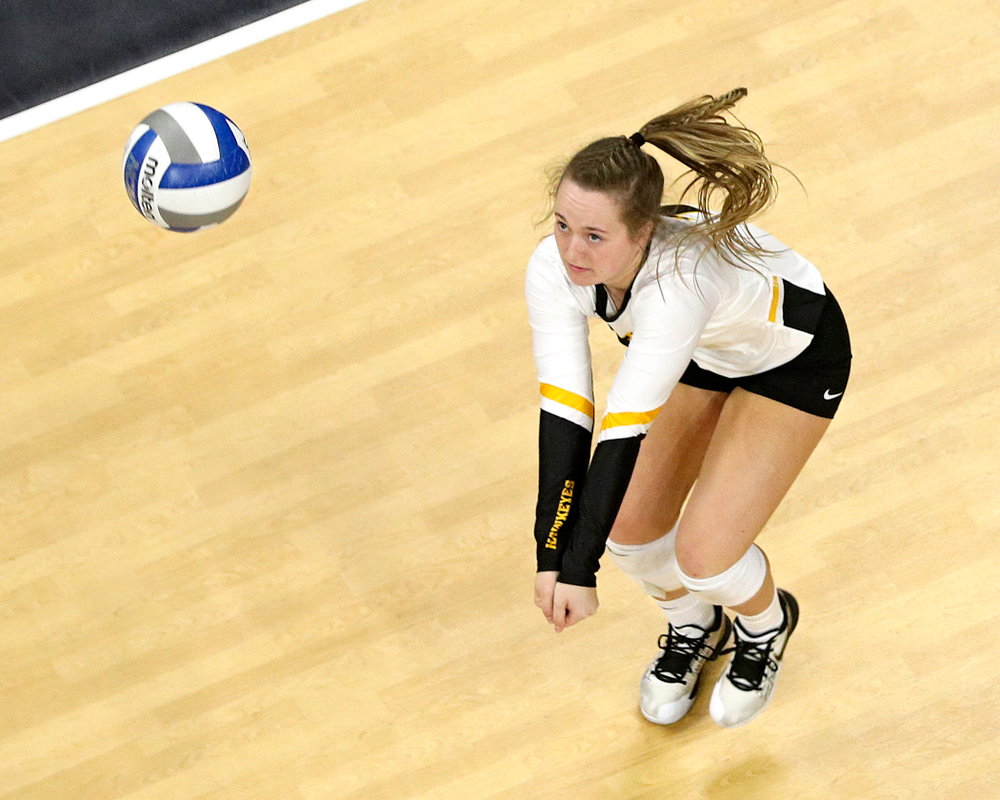 Iowa's Joslyn Boyer (1) eyes the ball during the second set of their match at Carver-Hawkeye Arena in Iowa City on Saturday, Nov 30, 2019. (Stephen Mally/hawkeyesports.com)