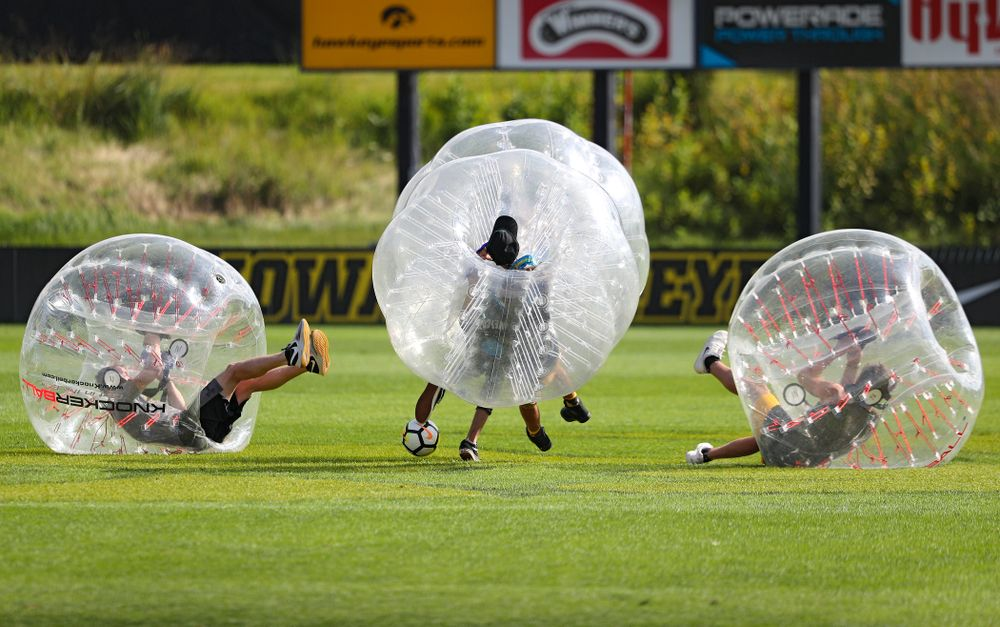 Four fans play KnockerBall soccer during halftime at the Iowa Soccer Complex in Iowa City on Sunday, Sep 1, 2019. (Stephen Mally/hawkeyesports.com)