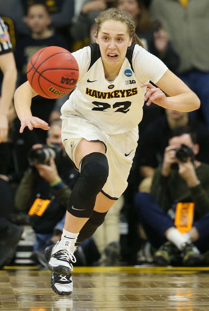Iowa Hawkeyes guard Kathleen Doyle (22) gets a steal during the fourth quarter of their second round game in the 2019 NCAA Women's Basketball Tournament at Carver Hawkeye Arena in Iowa City on Sunday, Mar. 24, 2019. (Stephen Mally for hawkeyesports.com)