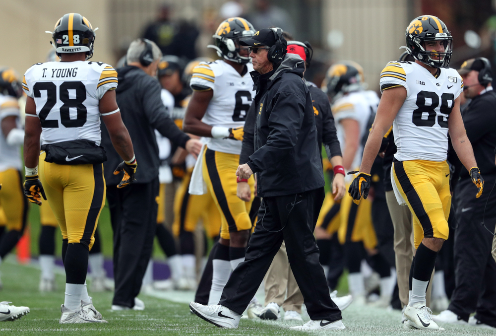 Iowa Hawkeyes quarterbacks coach Ken O'Keefe  against the Northwestern Wildcats Saturday, October 26, 2019 at Ryan Field in Evanston, Ill. (Brian Ray/hawkeyesports.com)