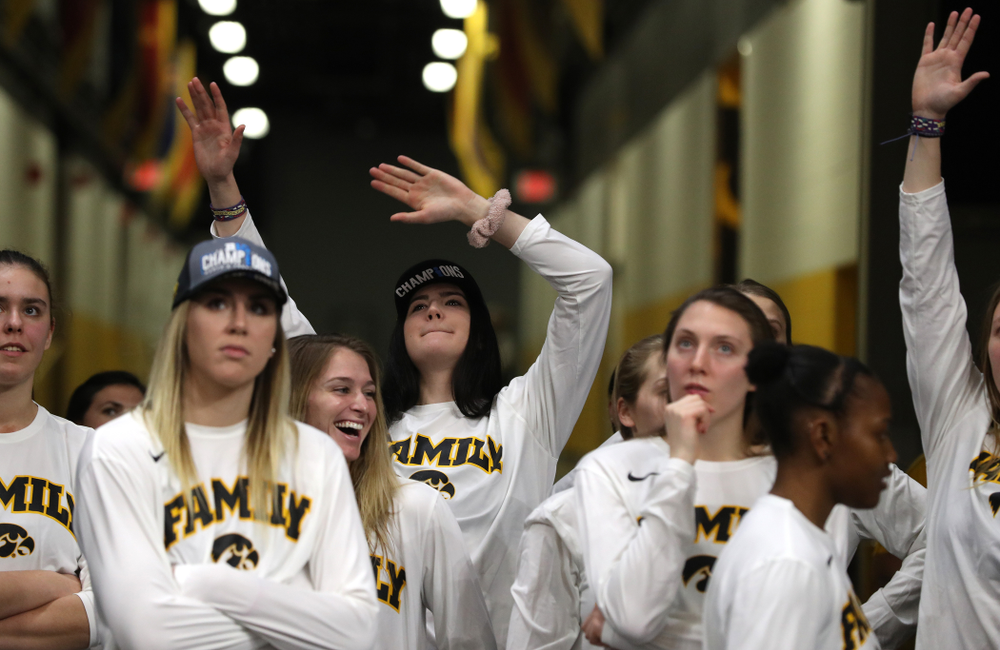Iowa Hawkeyes forward Megan Gustafson (10) during a celebration of their Big Ten Women's Basketball Tournament championship Monday, March 18, 2019 at Carver-Hawkeye Arena. (Brian Ray/hawkeyesports.com)