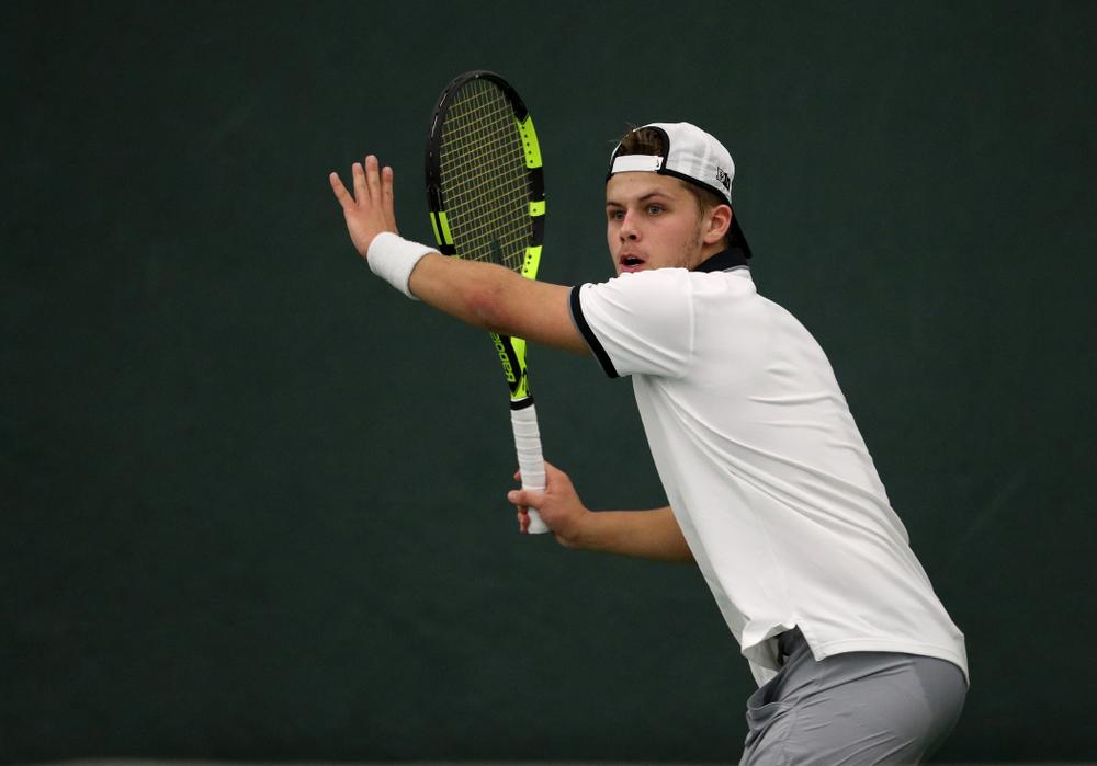 Iowa's Will Davies against Western Michigan Saturday, January 19, 2019 at the Hawkeye Tennis and Recreation Complex. (Brian Ray/hawkeyesports.com)