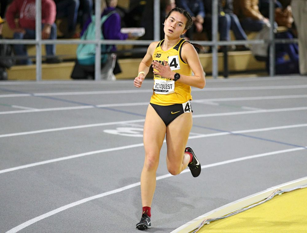 Iowa's Wren Renquist runs the women's 3000 meter run event during the Jimmy Grant Invitational at the Recreation Building in Iowa City on Saturday, December 14, 2019. (Stephen Mally/hawkeyesports.com)