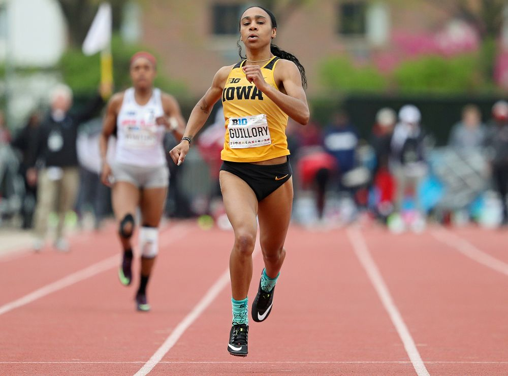 Iowa's Briana Guillory runs the women's 400 meter event on the third day of the Big Ten Outdoor Track and Field Championships at Francis X. Cretzmeyer Track in Iowa City on Sunday, May. 12, 2019. (Stephen Mally/hawkeyesports.com)