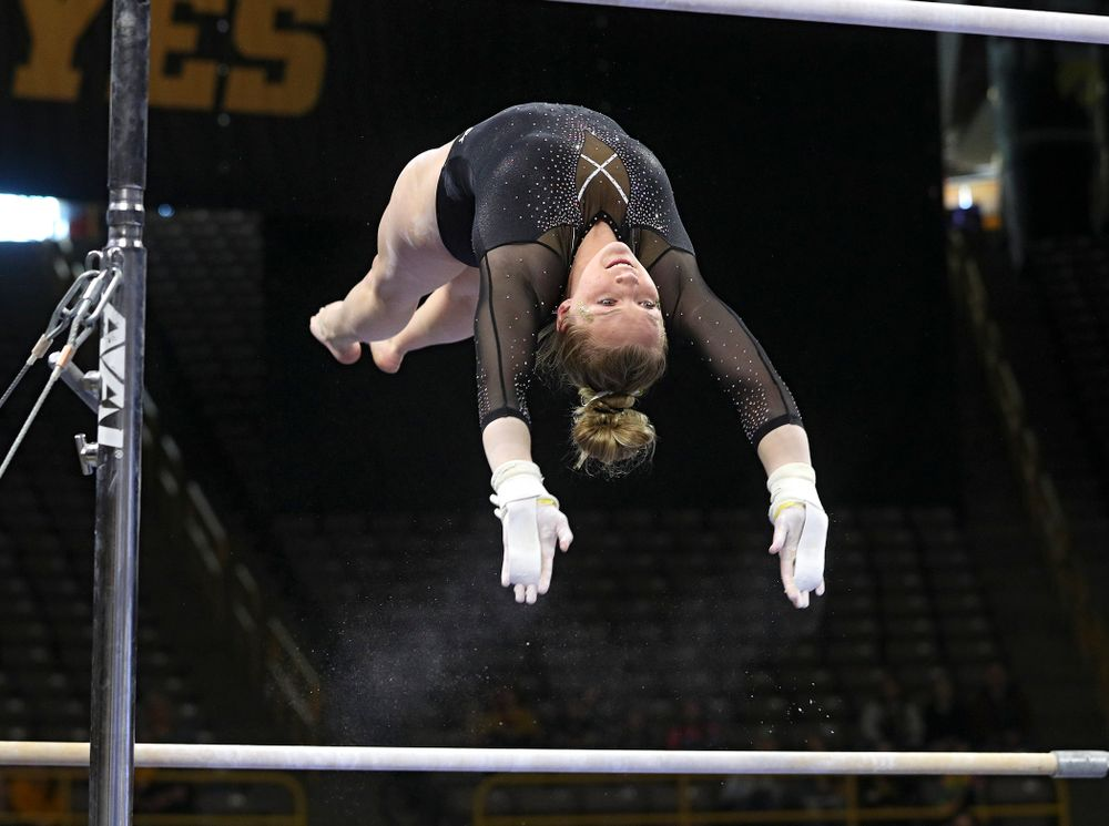 Iowa's Ellie Rogers competes on the bars during their meet at Carver-Hawkeye Arena in Iowa City on Sunday, March 8, 2020. (Stephen Mally/hawkeyesports.com)
