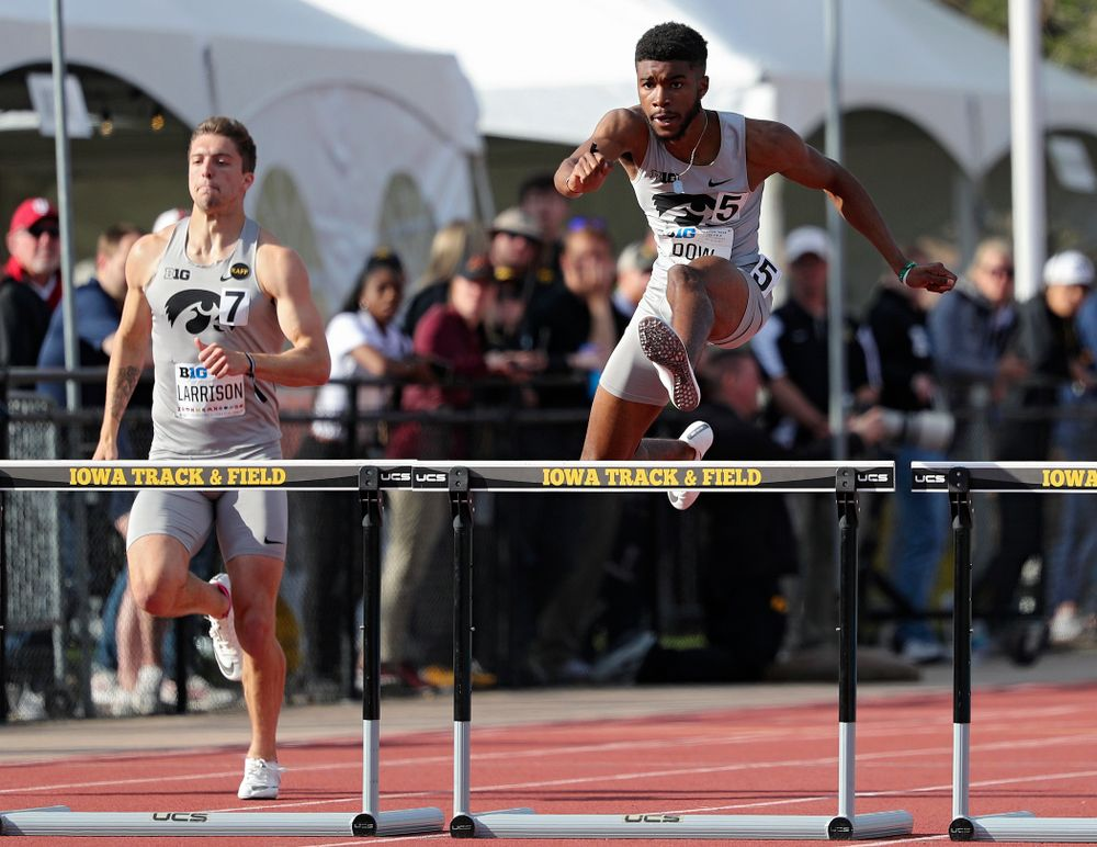 Iowa's Raymonte Dow runs the men's 400 meter hurdles event on the first day of the Big Ten Outdoor Track and Field Championships at Francis X. Cretzmeyer Track in Iowa City on Friday, May. 10, 2019. (Stephen Mally/hawkeyesports.com)