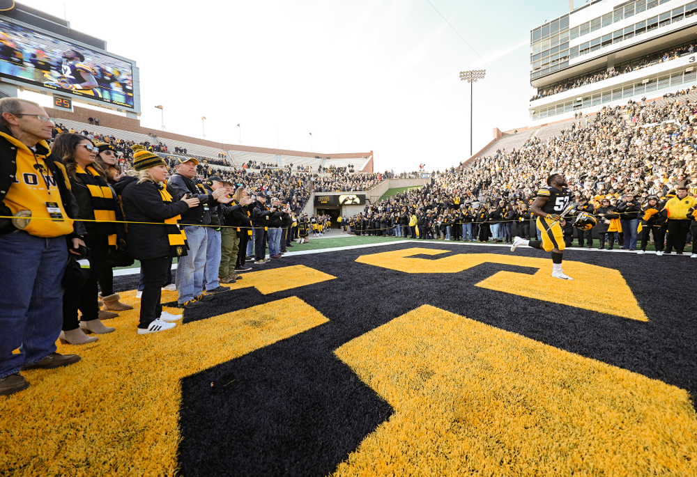 Iowa Hawkeyes linebacker Amani Jones (52) is acknowledged on senior day before their game at Kinnick Stadium in Iowa City on Saturday, Nov 23, 2019. (Stephen Mally/hawkeyesports.com)