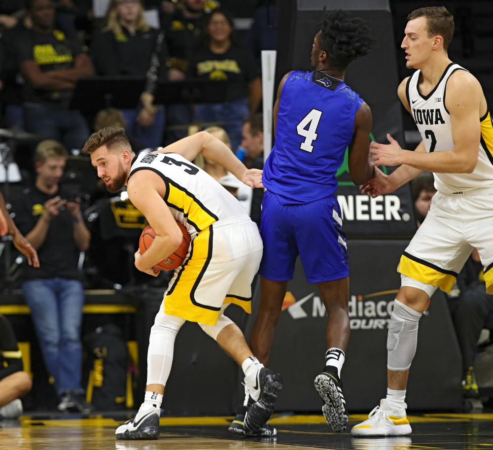 Iowa Hawkeyes guard Jordan Bohannon (3) steals the ball away during the second half of their exhibition game against Lindsey Wilson College at Carver-Hawkeye Arena in Iowa City on Monday, Nov 4, 2019. (Stephen Mally/hawkeyesports.com)