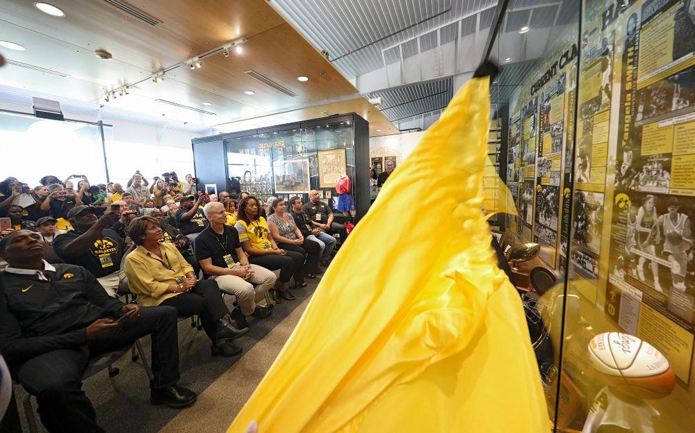 The 2019 University of Iowa Athletics Hall of Fame exhibit is unveiled at the University of Iowa Athletics Hall of Fame in Iowa City on Friday, Aug 30, 2019. (Stephen Mally/hawkeyesports.com)