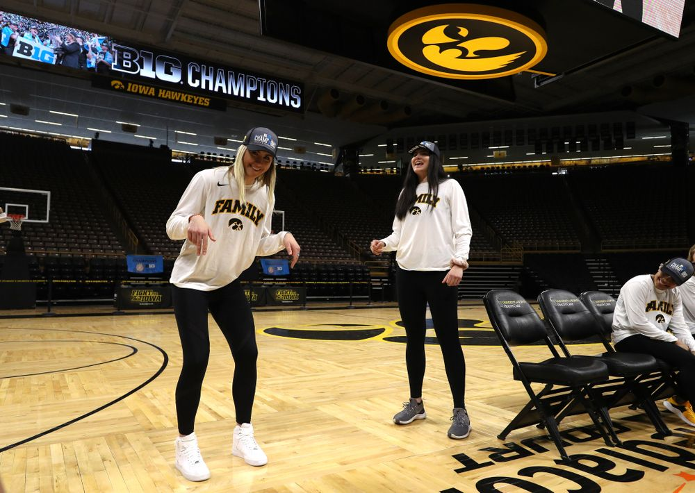 Iowa Hawkeyes forward Hannah Stewart (21) and forward Megan Gustafson (10) during a celebration of their Big Ten Women's Basketball Tournament championship Monday, March 18, 2019 at Carver-Hawkeye Arena. (Brian Ray/hawkeyesports.com)