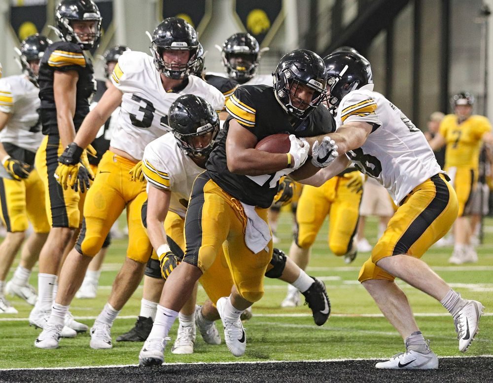 Iowa Hawkeyes running back Toren Young (28) powers into the end zone during Fall Camp Practice No. 6 at the Hansen Football Performance Center in Iowa City on Thursday, Aug 8, 2019. (Stephen Mally/hawkeyesports.com)