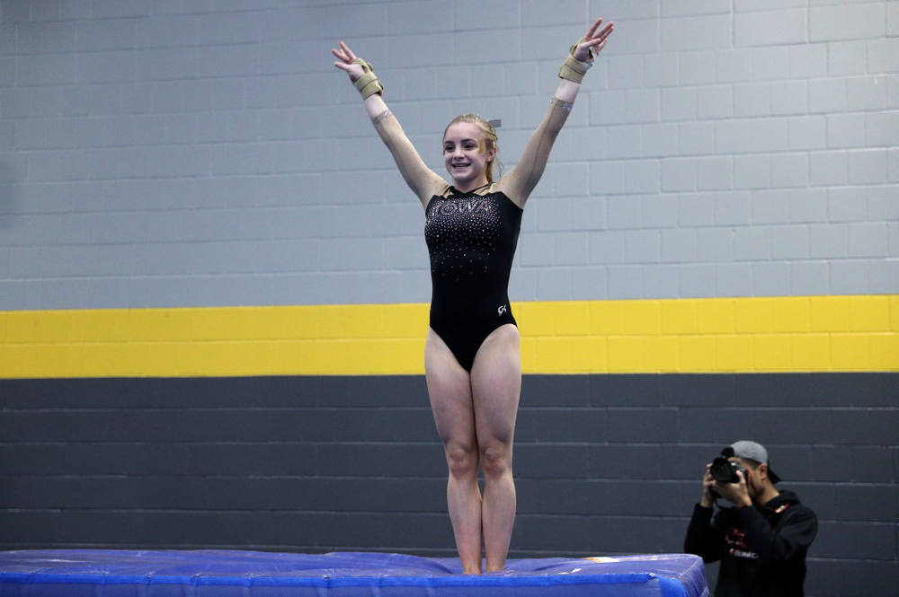Iowa's Lauren Guerin competes on the vault during the Black and Gold intrasquad meet Saturday, December 1, 2018 at the University of Iowa Field House. (Brian Ray/hawkeyesports.com)