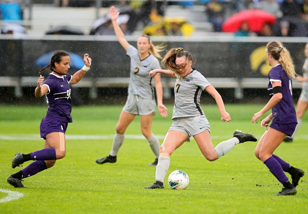 Iowa forward Skylar Alward (7) lines up a shot as her hair flies in her face during the second half of their match at the Iowa Soccer Complex in Iowa City on Sunday, Sep 29, 2019. (Stephen Mally/hawkeyesports.com)