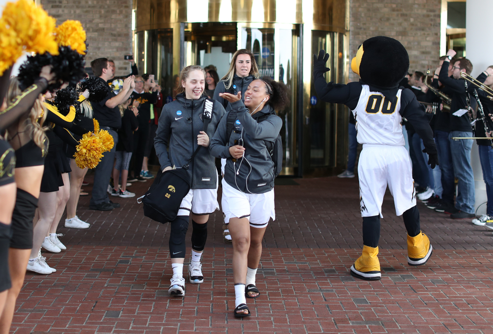 Iowa Hawkeyes guard Alexis Sevillian (5) during a send off at the hotel before their game against the NC State Wolfpack in the regional semi-final of the 2019 NCAA Women's College Basketball Tournament Saturday, March 30, 2019 at Greensboro Coliseum in Greensboro, NC.(Brian Ray/hawkeyesports.com)