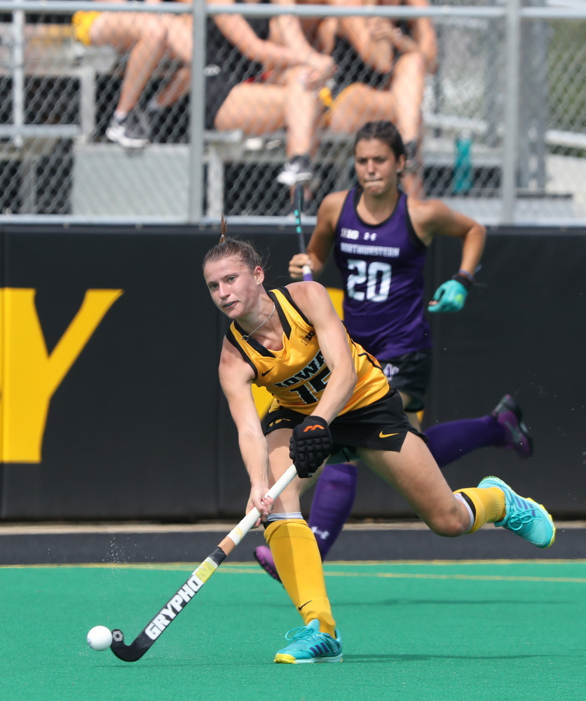 Iowa Hawkeyes Esme Gibson (15) during an exhibition game against Northwestern Saturday, August 24, 2019 at Grant Field. (Brian Ray/hawkeyesports.com)