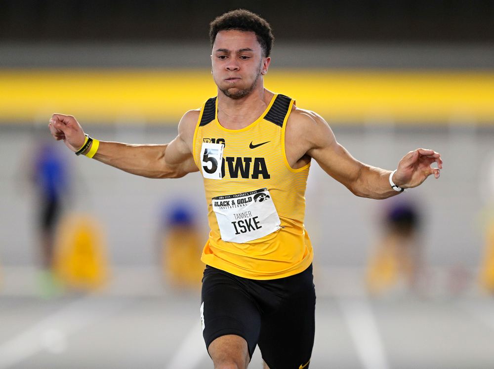 Iowa's Tanner Iske runs the men's 60 meter dash event at the Black and Gold Invite at the Recreation Building in Iowa City on Saturday, February 1, 2020. (Stephen Mally/hawkeyesports.com)