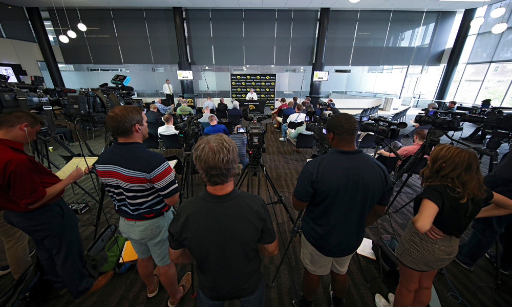 Iowa Hawkeyes head coach Fran McCaffery answers questions during Iowa Men's Basketball Media Day at Carver-Hawkeye Arena in Iowa City on Wednesday, Oct 9, 2019. (Stephen Mally/hawkeyesports.com)
