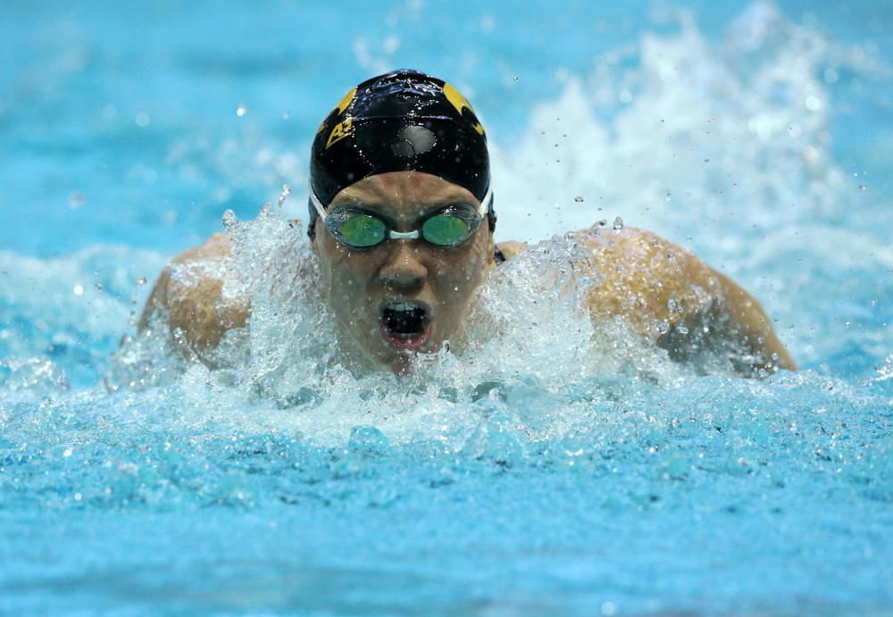 Iowa's Devin Jacobs swims the 200 yard Individual Medley Thursday, November 15, 2018 during the 2018 Hawkeye Invitational at the Campus Recreation and Wellness Center. (Brian Ray/hawkeyesports.com)