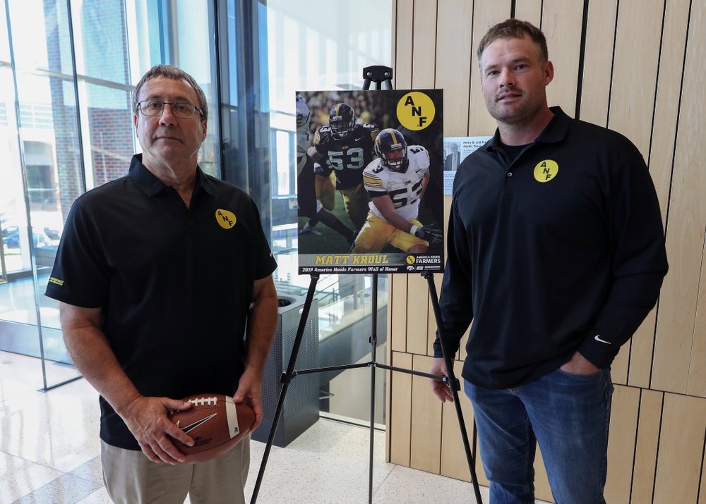 ANF Honoree Matt Kroul with Iowa Farm Bureau Executive Director Joe Johnson Tuesday, October 8, 2019 at the Hansen Football Performance Center. (Brian Ray/hawkeyesports.com)