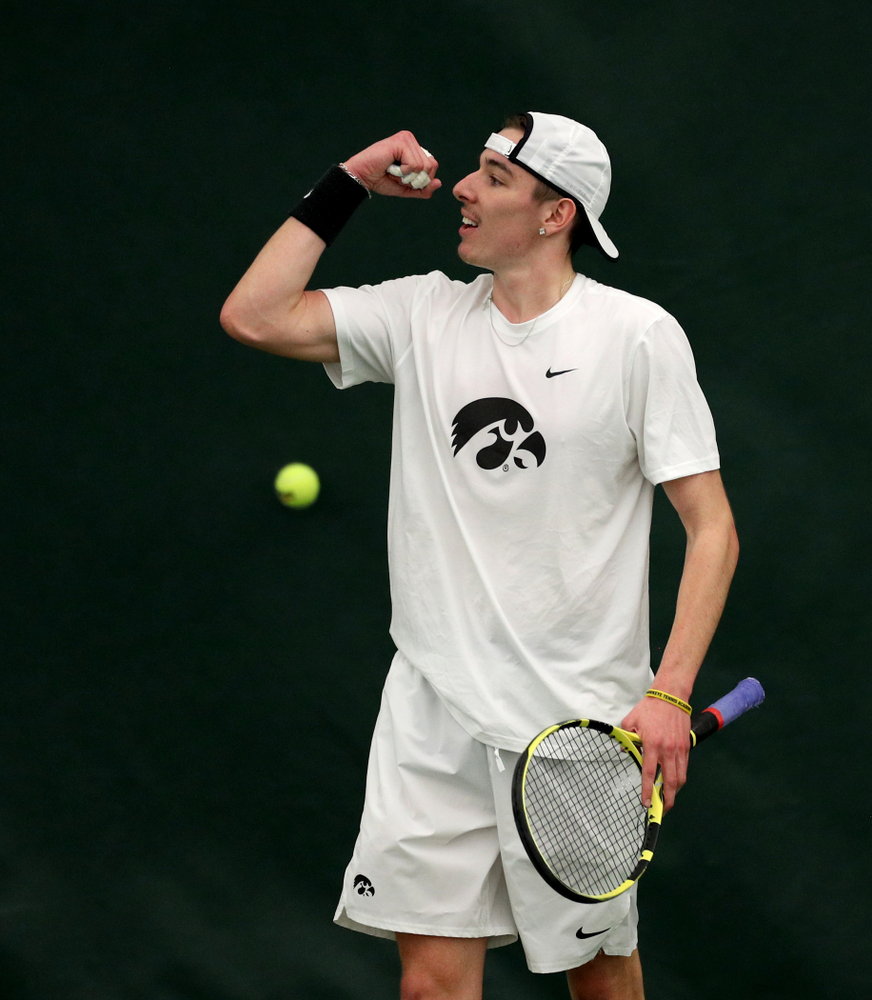 Iowa's Nikita Snezhko against Cornell Sunday, March 8, 2020 at the Hawkeye Tennis and Recreation Center. (Brian Ray/hawkeyesports.com)