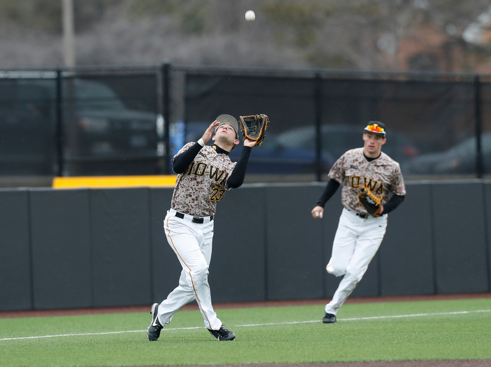 Iowa Hawkeyes infielder Kyle Crowl (23) during a double header against the Indiana Hoosiers Friday, March 23, 2018 at Duane Banks Field. (Brian Ray/hawkeyesports.com)
