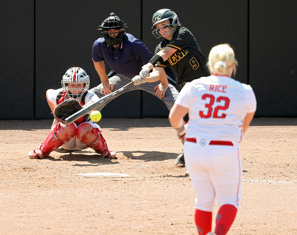 Iowa catcher Abby Lien (9) drives a pitch for a hit during the fourth inning of their game against Ohio State at Pearl Field in Iowa City on Saturday, May. 4, 2019. (Stephen Mally/hawkeyesports.com)