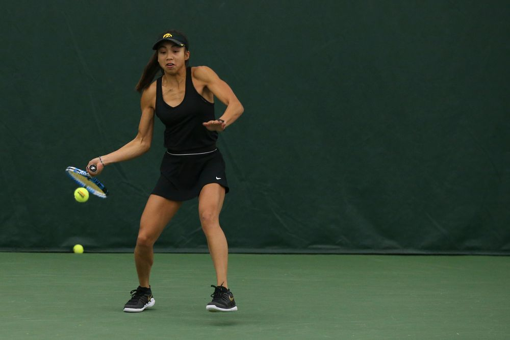 Iowa's Michelle Bacalla returns a ball during the Iowa women's tennis meet vs UNI  on Saturday, February 29, 2020 at the Hawkeye Tennis and Recreation Complex. (Lily Smith/hawkeyesports.com)