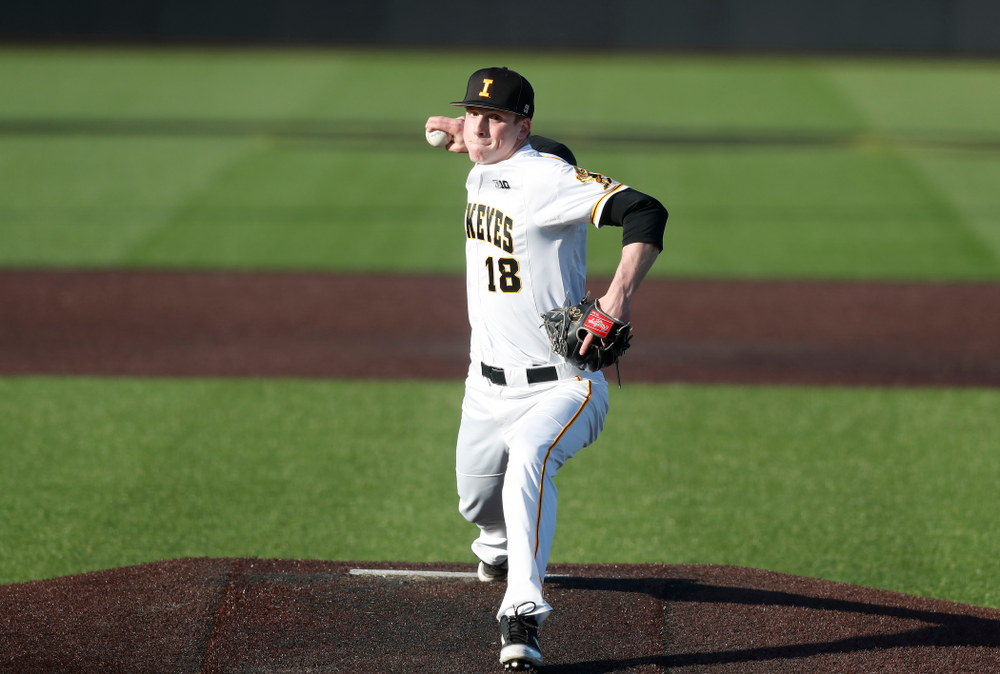 Iowa Hawkeyes pitcher Shane Ritter (18) against Northern Illinois Tuesday, April 17, 2018 at Duane Banks Field. (Brian Ray/hawkeyesports.com)