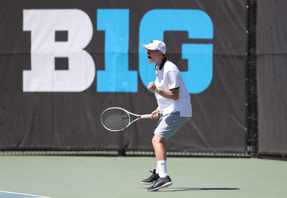 IowaÕs Jason Kerst against the Michigan Wolverines Sunday, April 21, 2019 at the Hawkeye Tennis and Recreation Complex. (Brian Ray/hawkeyesports.com)