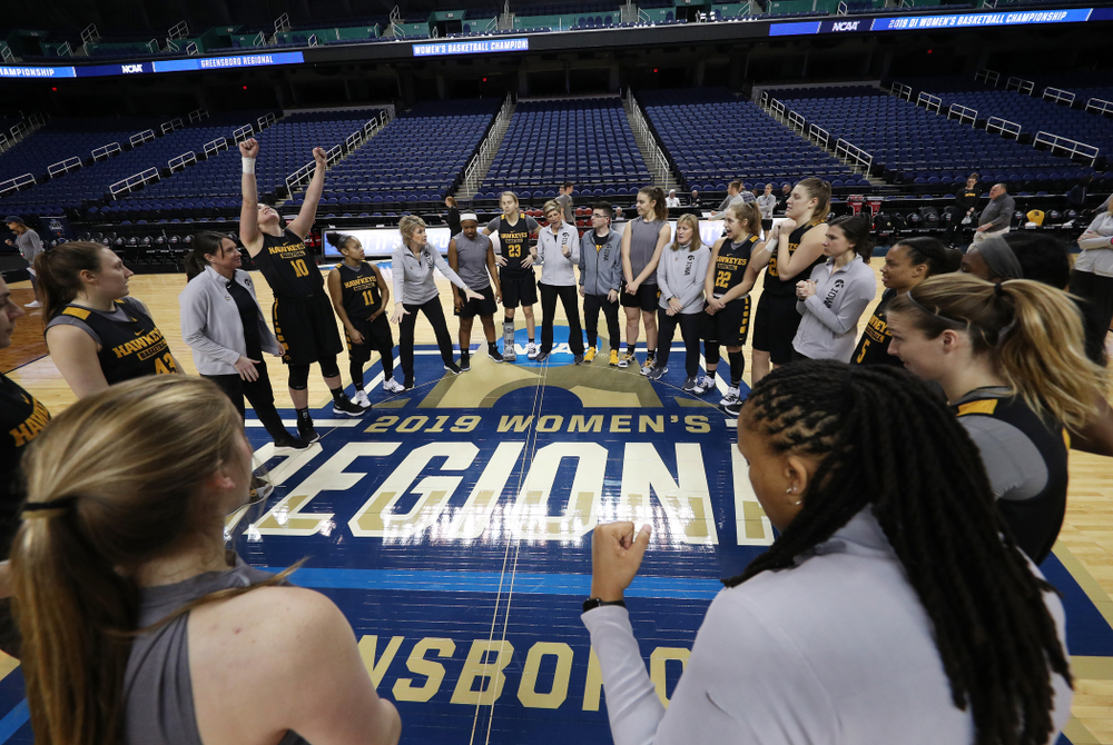 The Iowa Hawkeyes following practice for their Sweet 16 matchup against NC State Friday, March 29, 2019 at the Greensboro Coliseum in Greensboro, NC.(Brian Ray/hawkeyesports.com)