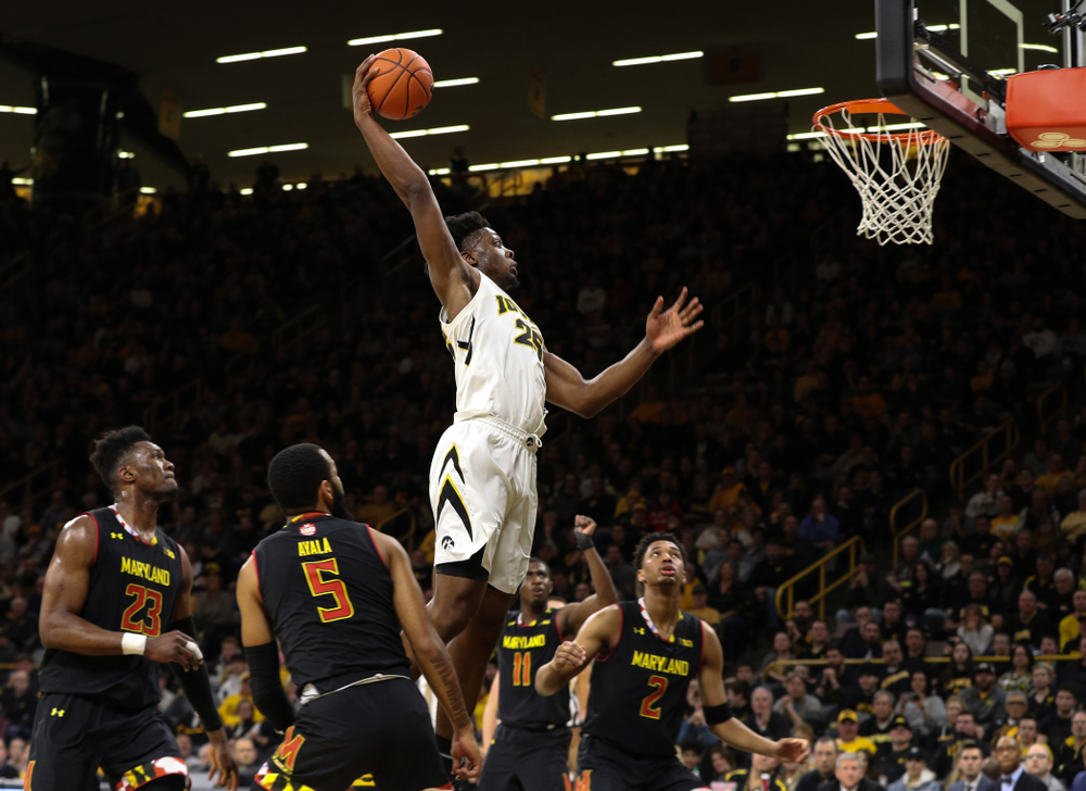 Iowa Hawkeyes forward Tyler Cook (25) against the Maryland Terapins Tuesday, February 19, 2019 at Carver-Hawkeye Arena. (Brian Ray/hawkeyesports.com)