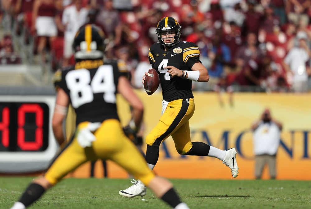 Iowa Hawkeyes quarterback Nate Stanley (4) during the Outback Bowl Tuesday, January 1, 2019 at Raymond James Stadium in Tampa, FL. (Brian Ray/hawkeyesports.com)