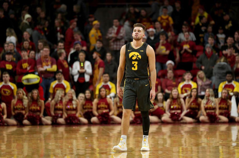 Iowa Hawkeyes guard Jordan Bohannon (3) against the Iowa State Cyclones Thursday, December 12, 2019 at Hilton Coliseum in Ames, Iowa(Brian Ray/hawkeyesports.com)