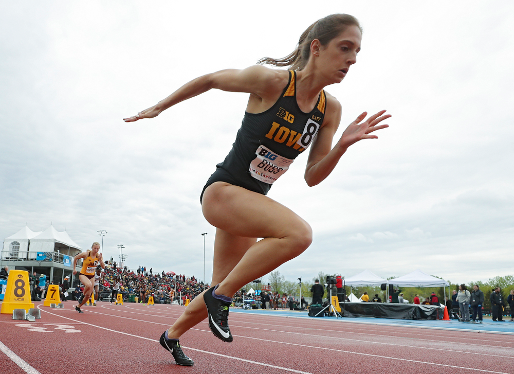 Iowa's Talia Buss runs the women's 400 meter dash event on the second day of the Big Ten Outdoor Track and Field Championships at Francis X. Cretzmeyer Track in Iowa City on Saturday, May. 11, 2019. (Stephen Mally/hawkeyesports.com)