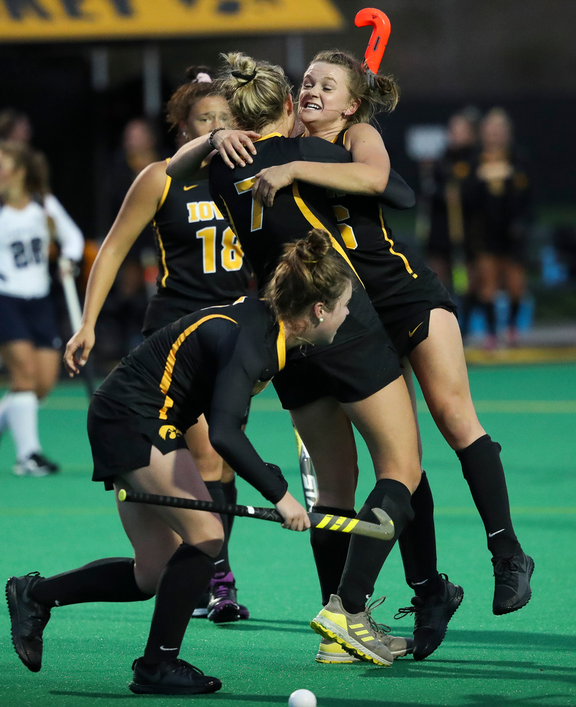 Iowa Hawkeyes forward Madeleine Murphy (26) celebrates after scoring her third goal during a game against No. 6 Penn State at Grant Field on October 12, 2018. (Tork Mason/hawkeyesports.com)